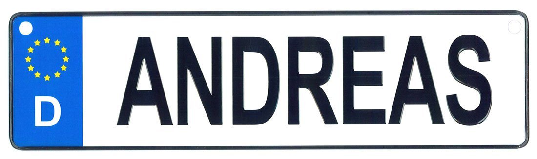 Andreas license plate