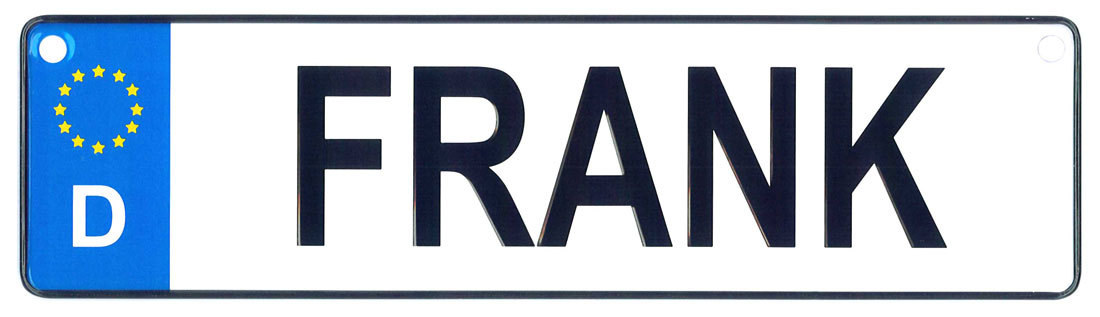 Frank license plate