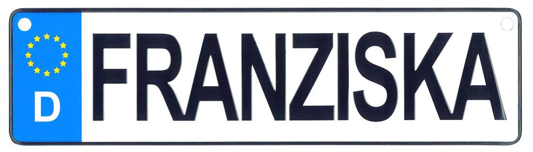 Franziska license plate