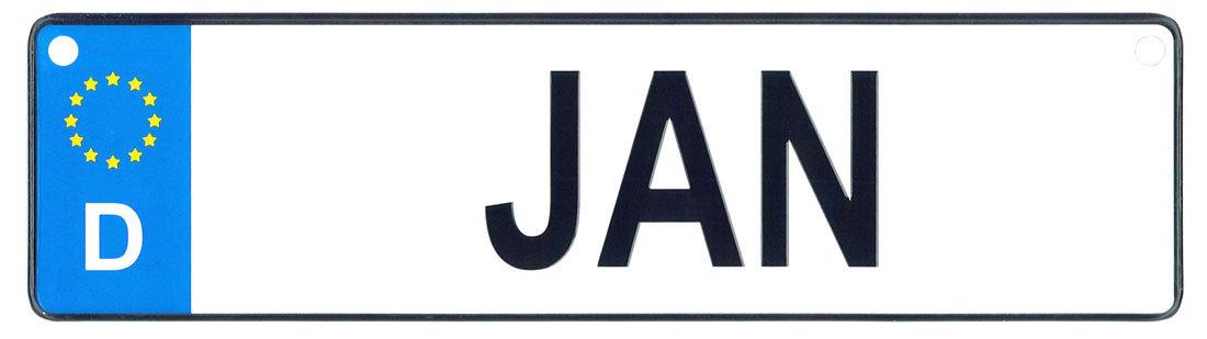 Jan license plate