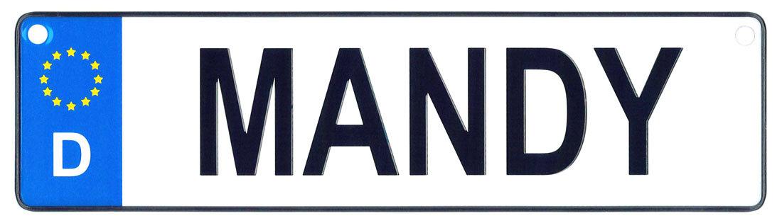 Mandy license plate
