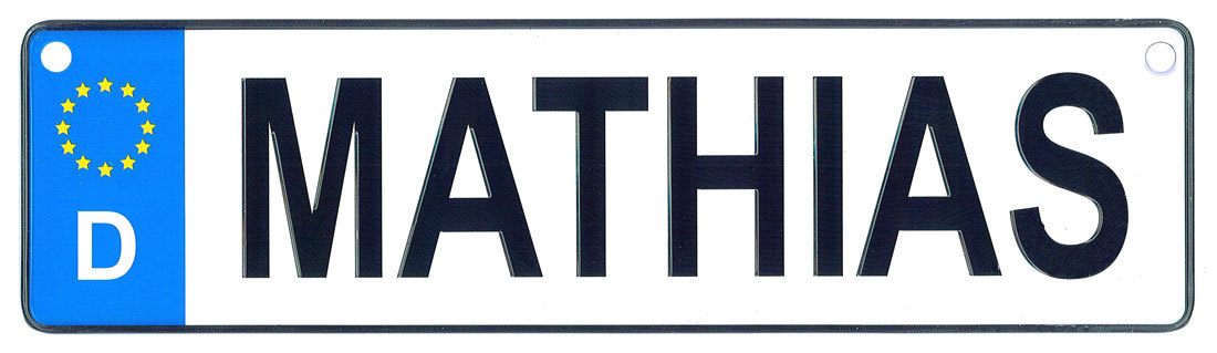 Mathias license plate
