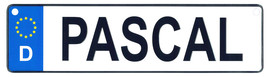 Pascal - European License Plate (Germany) - $9.00