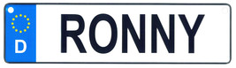 Ronny - European License Plate (Germany) - $9.00