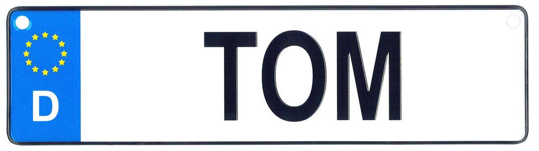 Tom license plate