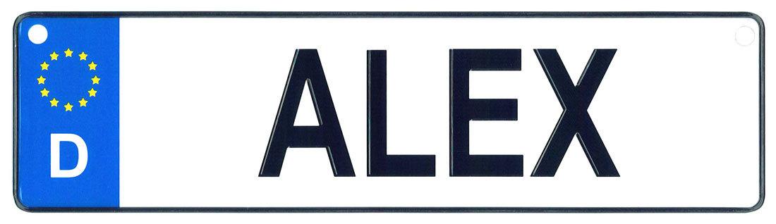 Alex license plate