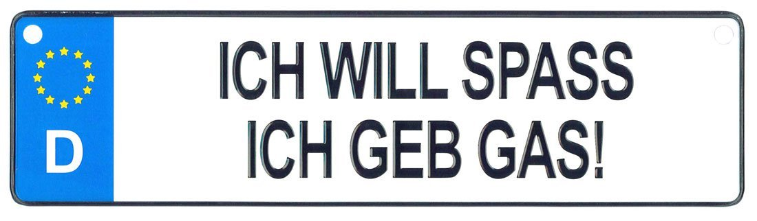 Ich Will Spass - European License Plate (Germany)