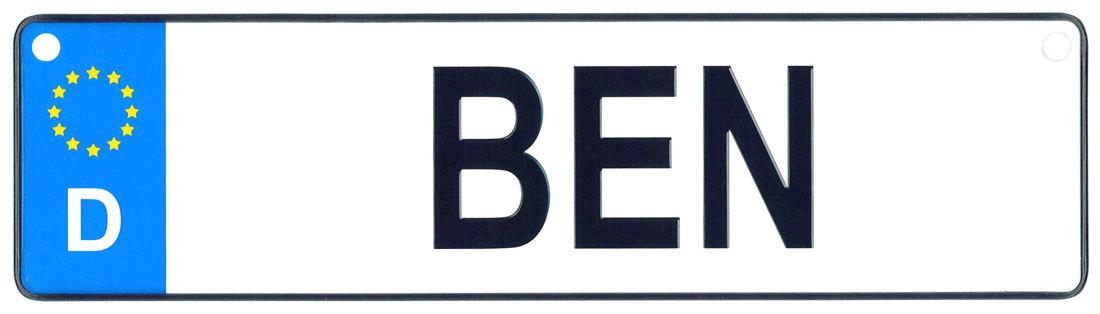 Ben license plate