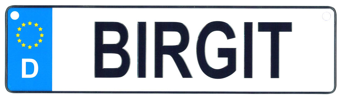 Birgit - European License Plate (Germany)