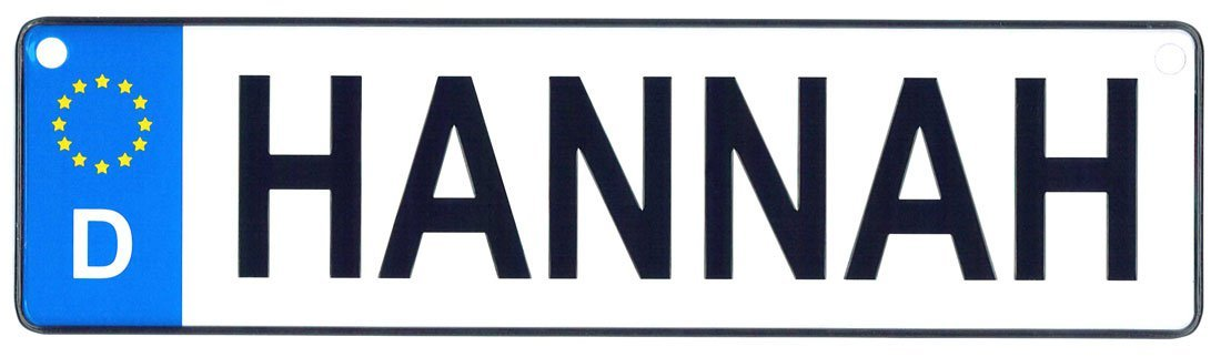 Hannah - European License Plate (Germany)