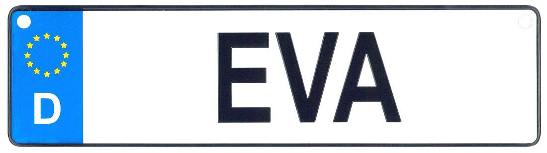 Eva license plate