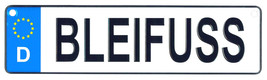 Bleifuss - European License Plate (Germany) - $9.00