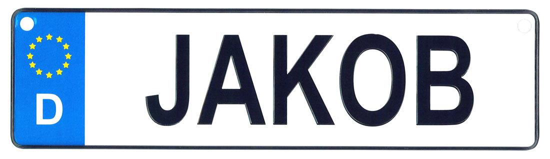 Jakob license plate