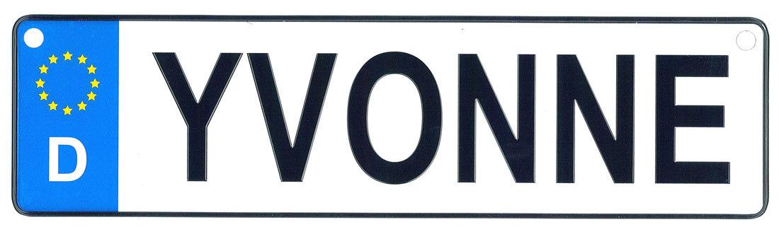 Yvonne license plate