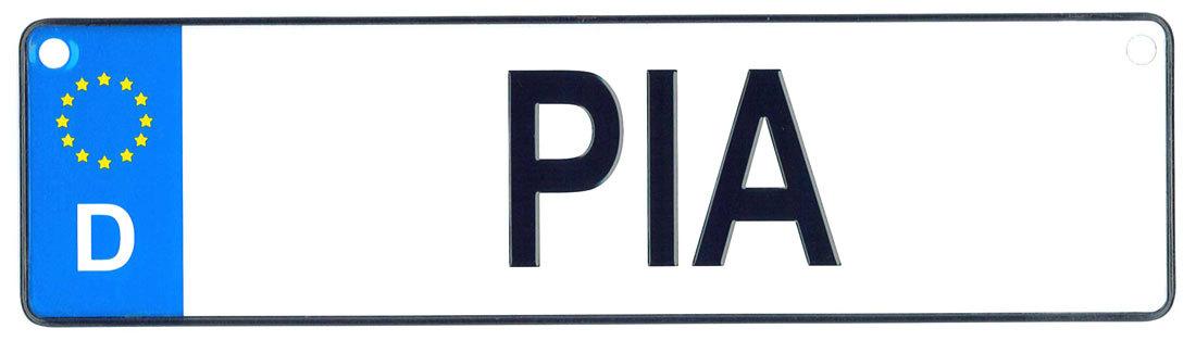 Pia license plate