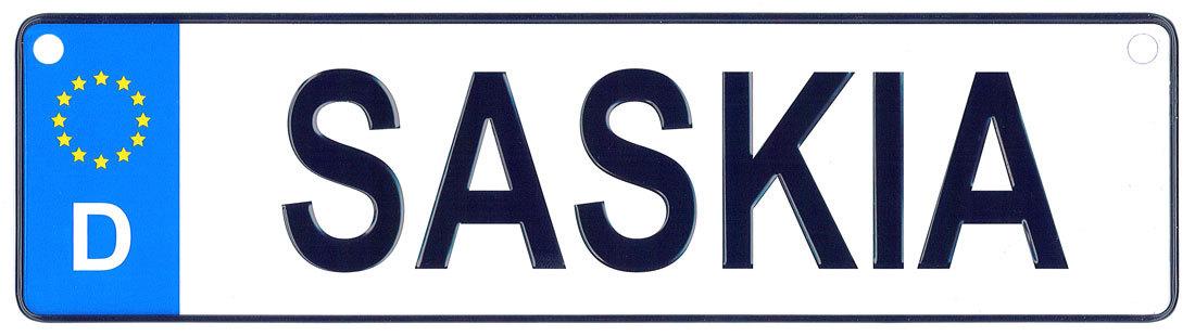 Saskia license plate