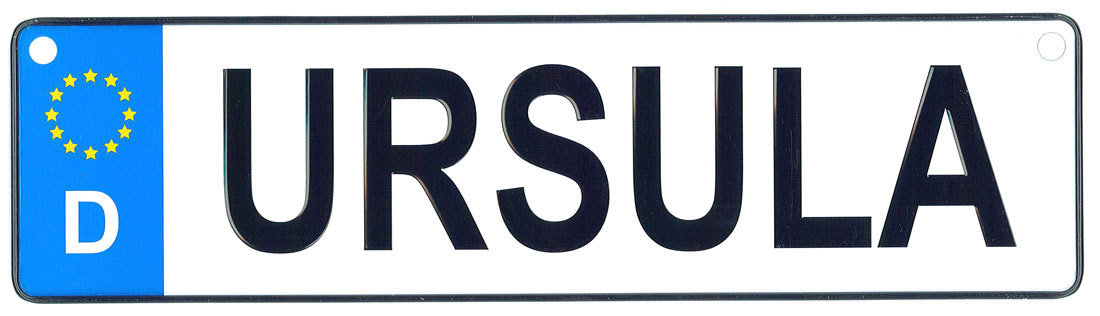 Ursula license plate