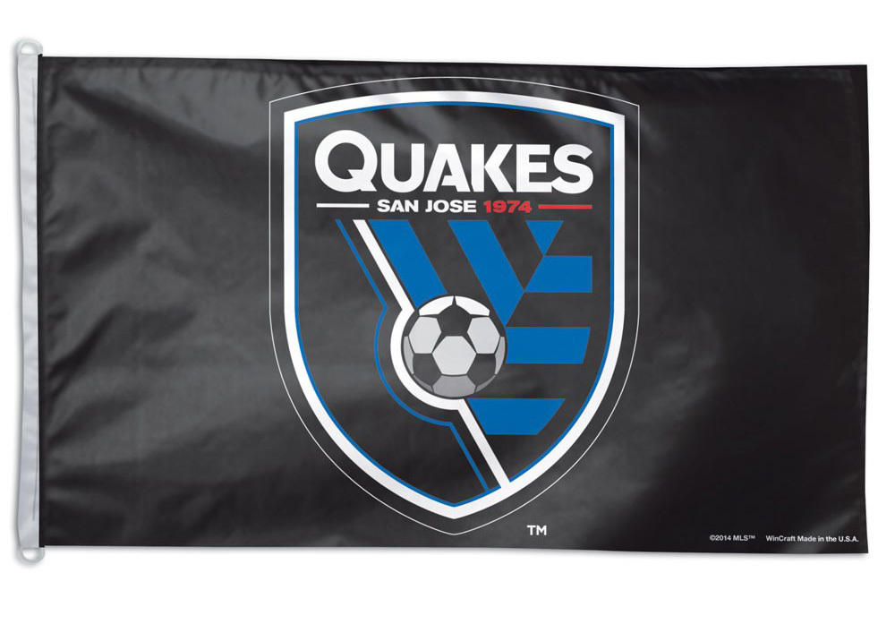 San Jose Earthquakes (Black Background) - 3' x 5' Polyester Flag