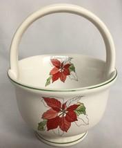 Block Bernardo Poinsettia Handle Basket Ceramic Goertzen Portugal Waterc... - $15.79
