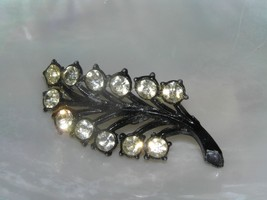Estate Black Painted Leaf with Clear Rhinestone Edges Pin Brooch – 2 x 0... - $6.34