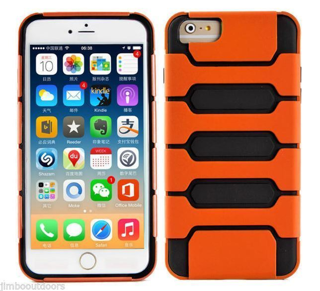 Case For iPhone 6 Black & Orange Defender Series 2 Layer Cool NEW Not in Box