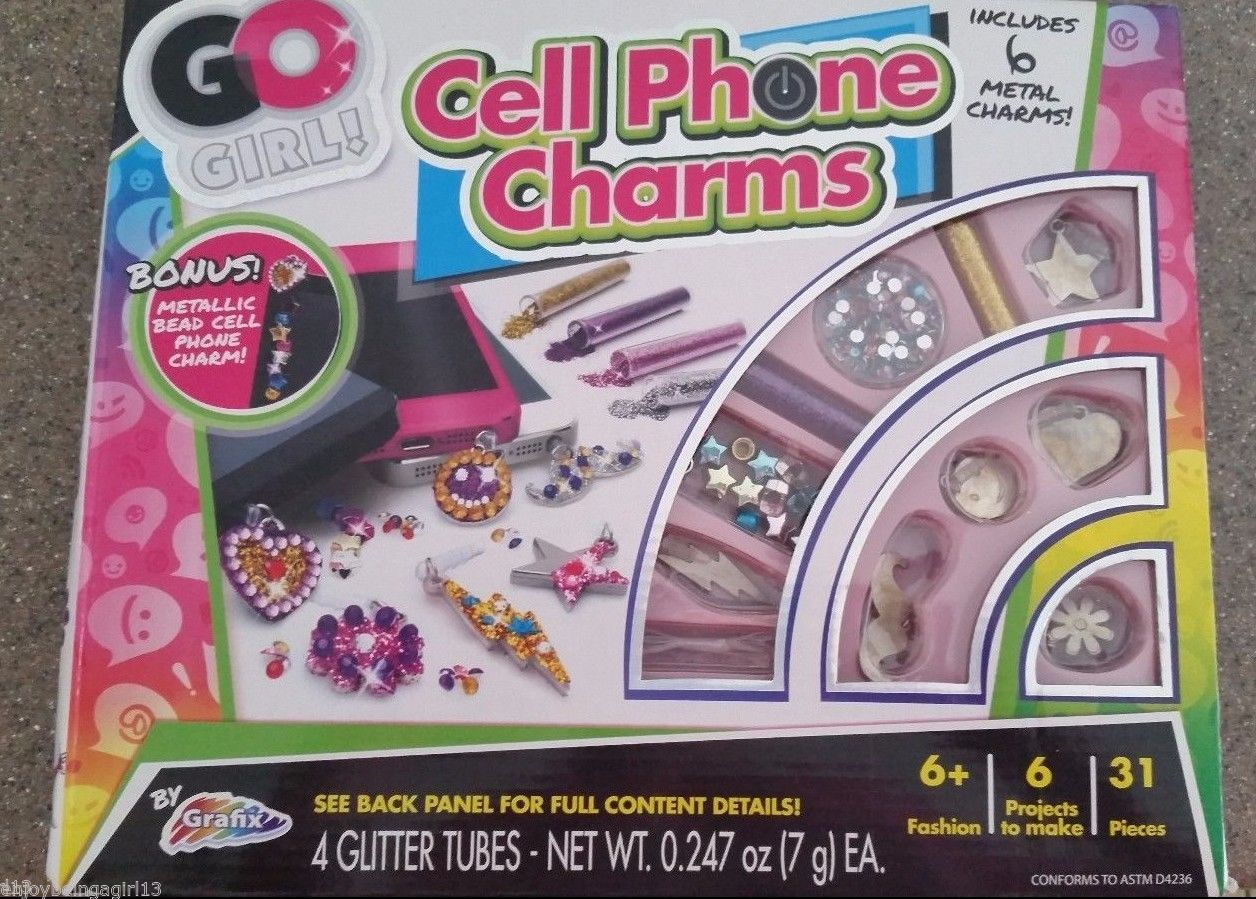 Craft Kit Kids Cell Phone Charms Glitter Ages 6+ 31 Pieces