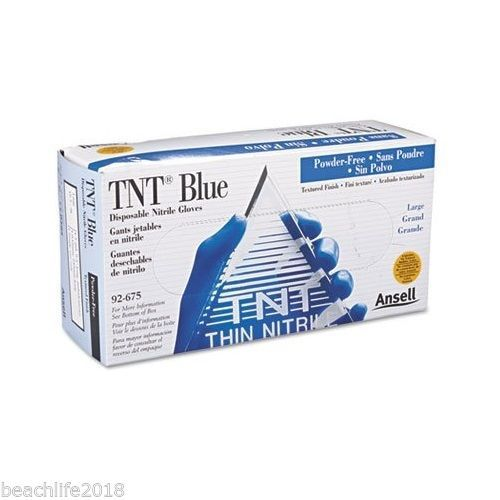 Ansell TNT Disposable Nitrile Gloves Non-powdered Blue Large 100 Gloves per Box