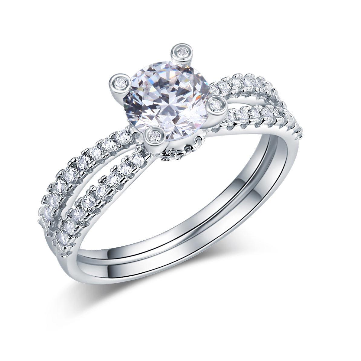 925 Sterling Silver Wedding Engagement Ring 1.25 Carat Round Lab Created Diamond