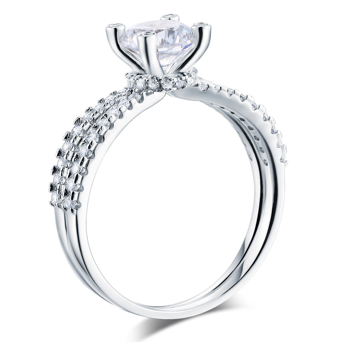 925 Sterling Silver Wedding Engagement Ring 1.25 Carat Round Lab Created Diamond - $119.99