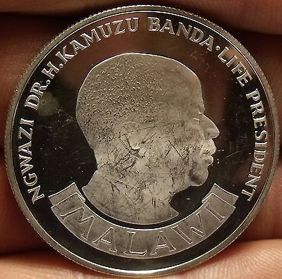 Rare Silver Proof Malawi 1974 10 Kwacha~10th Anniversary~Only 4,937 Minted~Fr/Sh
