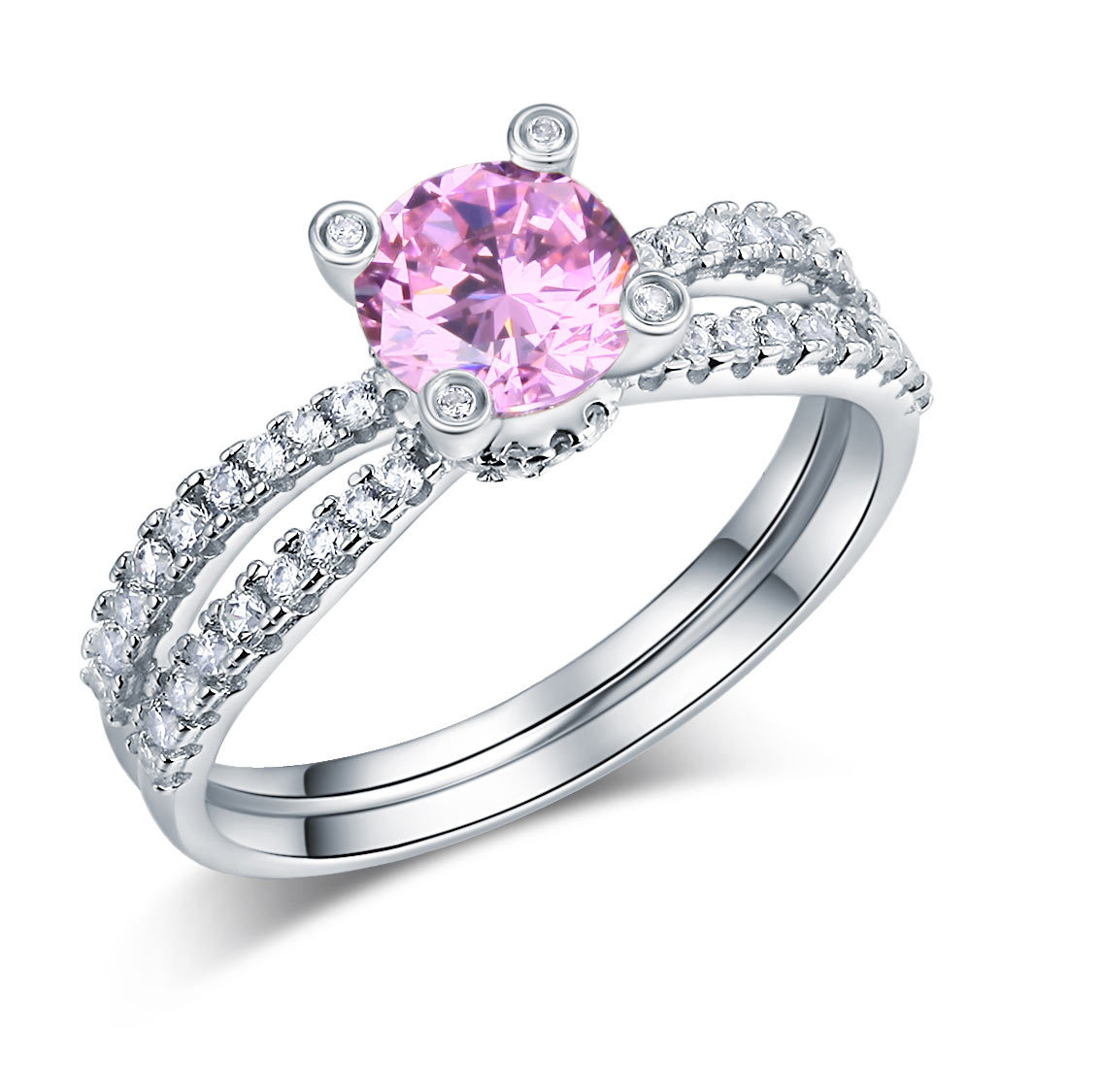 925 Sterling Silver Engagement Ring 1.25 Carat Fancy Pink Lab Created Diamond