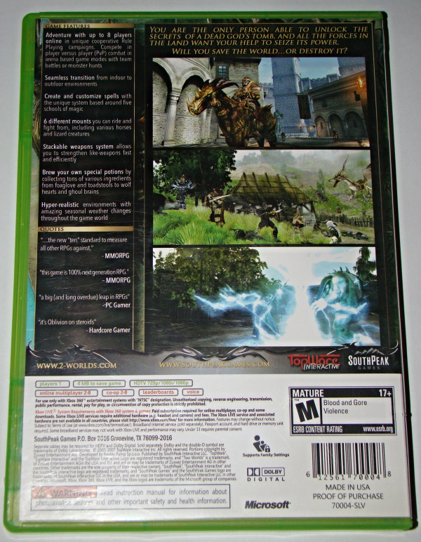 XBOX 360 - SOUTH PEAK GAMES - TWO WORLDS (Complete with Instructions)