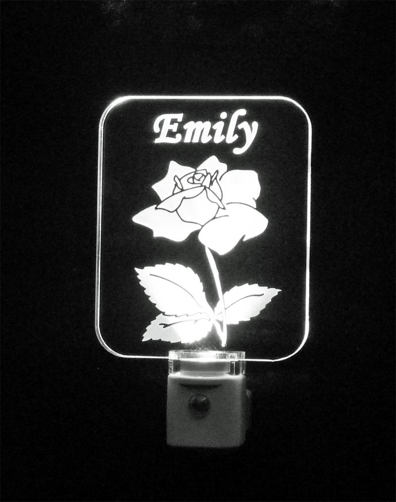 Personalized Rose LED Night Light - LED Lamp Personalized, Flower, nightlight