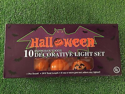New Set Of Ten Halloween Blow Mold Jack-O-Lantern Pumpkin Lights