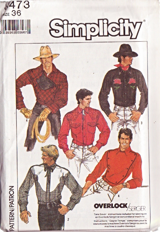 Simplicity 8473 Men's Fitted Western Shirt Pattern Sz 36