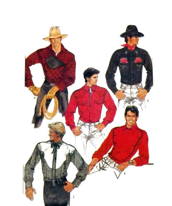 Simplicity 8473 Men's Fitted Western Rodeo Shirt Pattern Sz 38