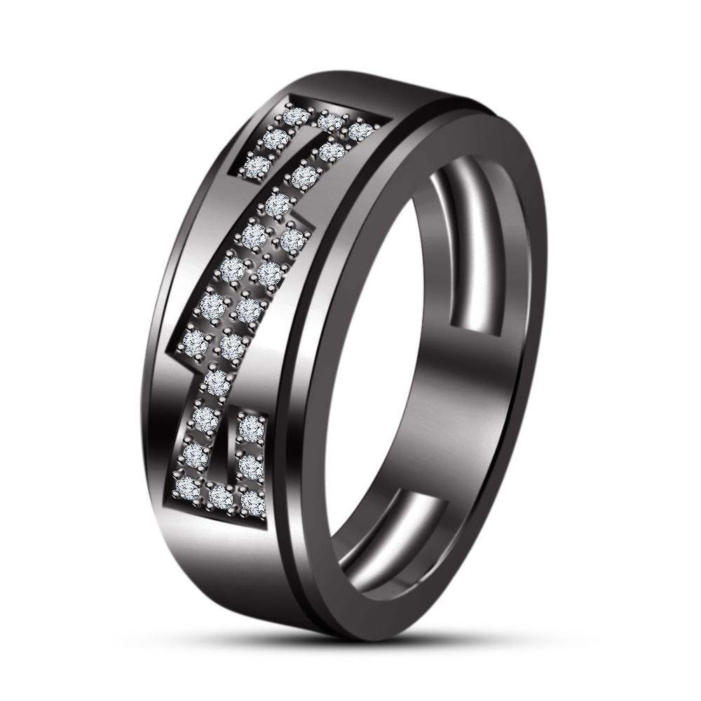 His Her Men's Women's White Sim Diamond Wedding Trio Ring Set In Black Gold Fn