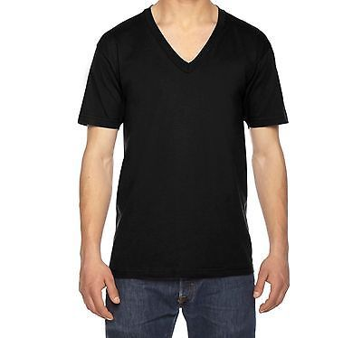 12 American Apparel 2456 BLACK V Neck Cotton Short Sleeve T-Shirt Bulk Lot 2XL