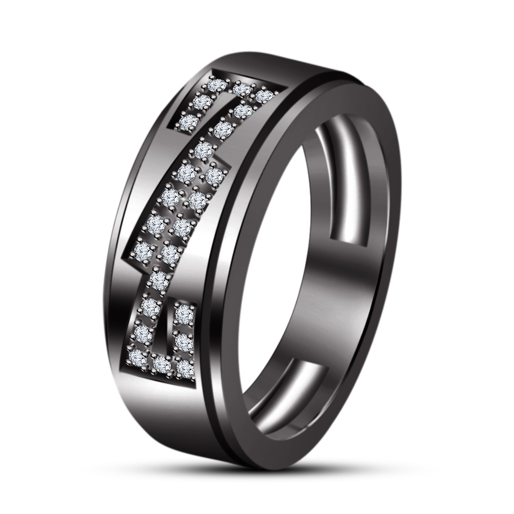 Round Cut White Simulated Diamond Engagement Band Ring In 18k Black Gold Plated