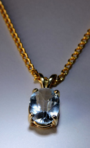 Sparkly Faceted Sky Blue Topaz 14k Gold Plated Pendant  Necklace #3 - $45.00
