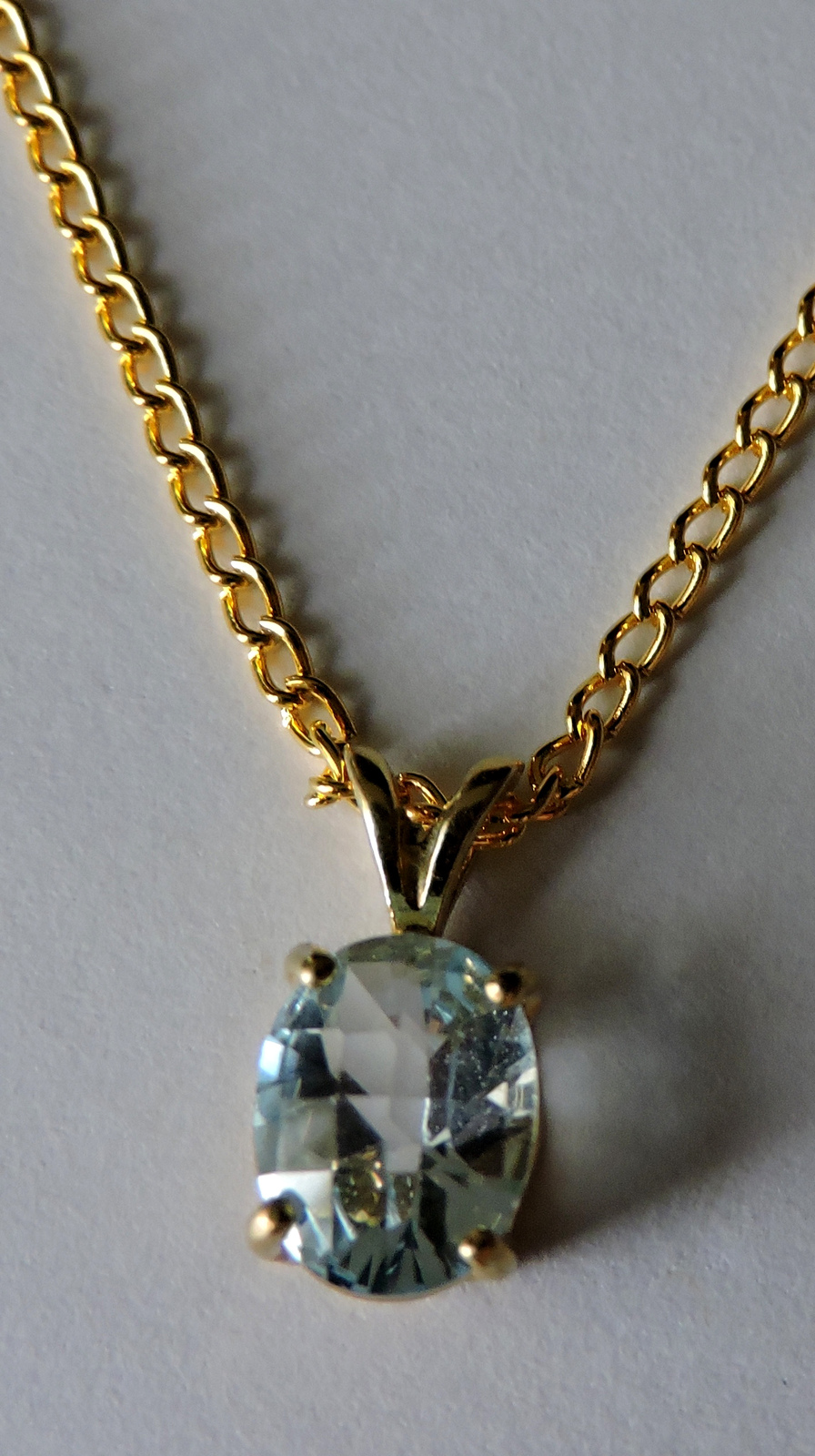 Sparkly Faceted Sky Blue Topaz 14k Gold Plated Pendant  Necklace #3