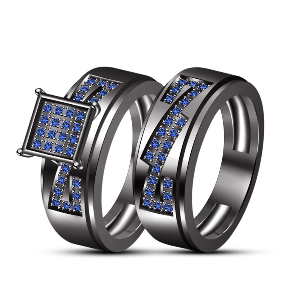 Men's & Ladies Special Black Gold Finishing Wedding Engagement Trio Ring Set