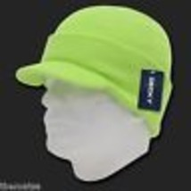 Melon Green Knit Acrylic Jeep Skull B EAN Ie Winter Ski Visor B EAN Ie Hat Cap - $27.07
