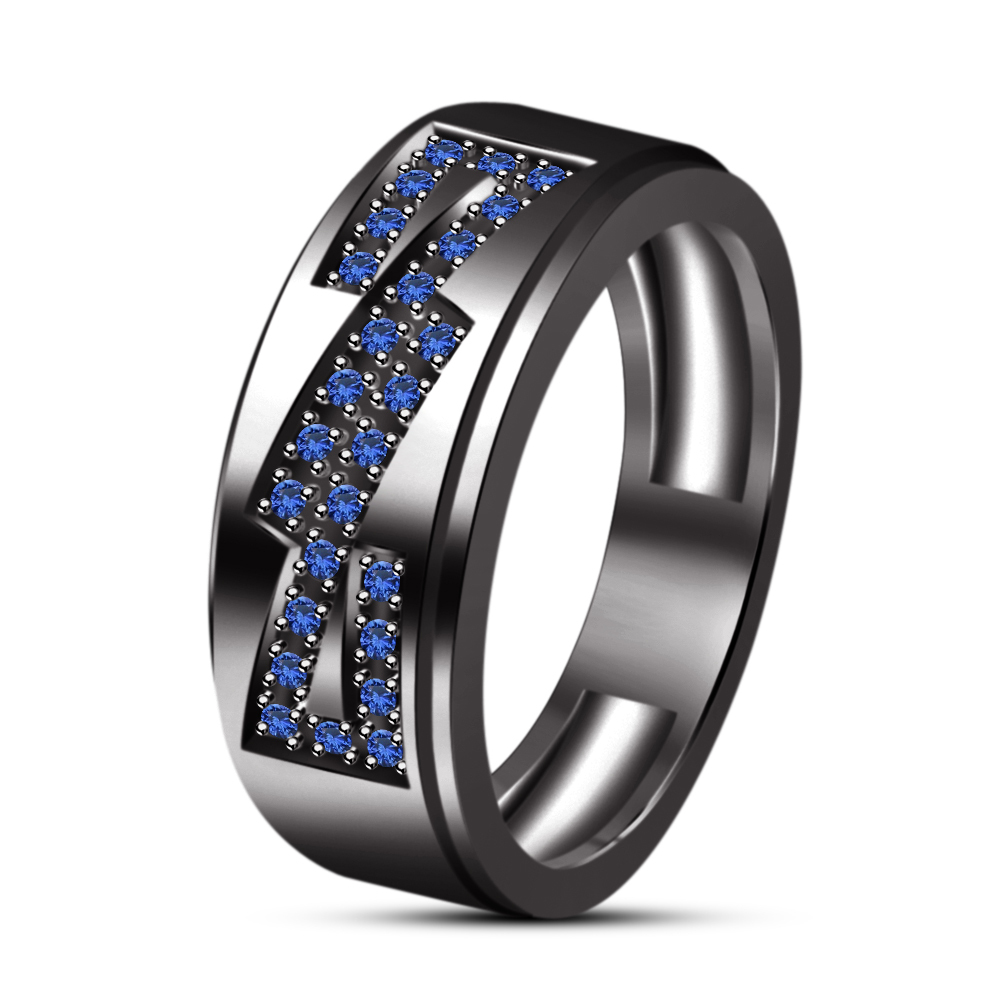 Round Brilliant Cut Sapphire Engagement Men's Band Ring In Solid .925 Silver