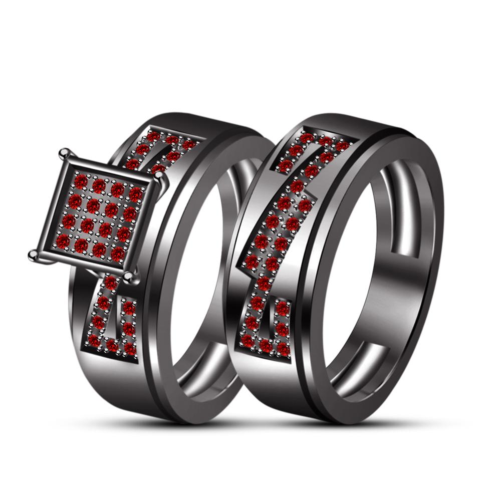 Men's & Women's 18k Black Gold Fn Red Garnet Wedding Engagement Trio Ring Set