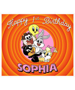 Baby Looney Tunes Birthday Banner Personalized Party Backdrop Pink Decor... - $38.12
