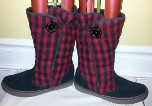 Vans Off The Wall unisex Plaid Tall Boots. Men 9.5, Wmn 11. Black & Red