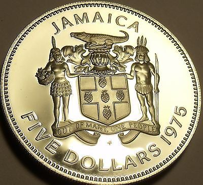 Rare Silver Proof Jamaica 1975 $5~Norman Manley~16,000 Minted~Free Shipping