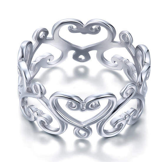925 Sterling Silver Heart Wedding Ring Band Jewelry