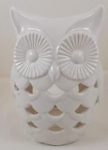 "White Ceramic Owl Tea Light Luminary Lantern Candle Holder 6.5"" - $24.74"